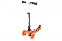 Трехколесный самокат со складной ручкой и 3 светящимися колесами Small Rider Randy Flash (оранжевый глянец)