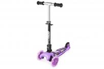 Трехколесный самокат со складной ручкой и 3 светящимися колесами Small Rider Randy Flash (фиолетовый глянец)