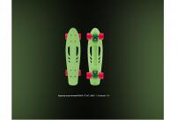 """Круизер пластиковый RIDEX 22""""x6"""", ABEC-7, Greencie 1/6"""